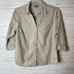🌈 classic elements linen button up shirt